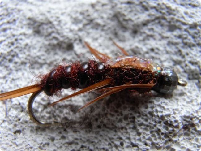 Yangoo Disco MShade Stonefly Brown barbed Nymphe